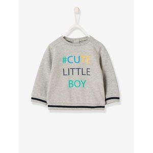 Vertbaudet   Sweatshirt für Baby Jungen mit Aufschrift gemustert hellgrau
