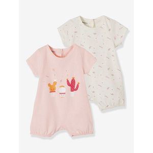 Vertbaudet   2er-Pack Baby Kurzoveralls, Baumwolle multicolor hellrose