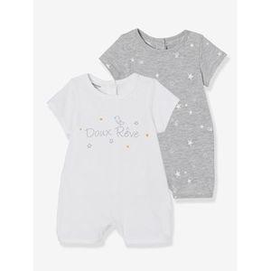 Vertbaudet   2er-Pack kurze Baumwoll-Overalls für Babys multicolor hellweiss