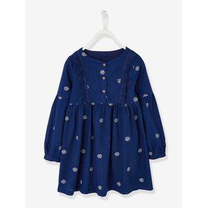 Vertbaudet   Mädchen Sommerkleid, Ethno-Style dunkelblau einfärbig mit app.