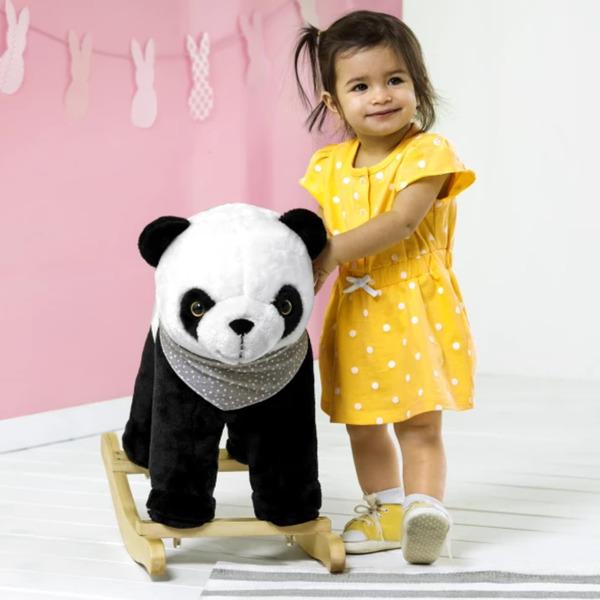 Schaukel Panda aus Plüsch und Holz