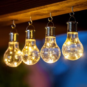 I-Glow LED Solar Partybirnen 4er-Set - Warmweiß