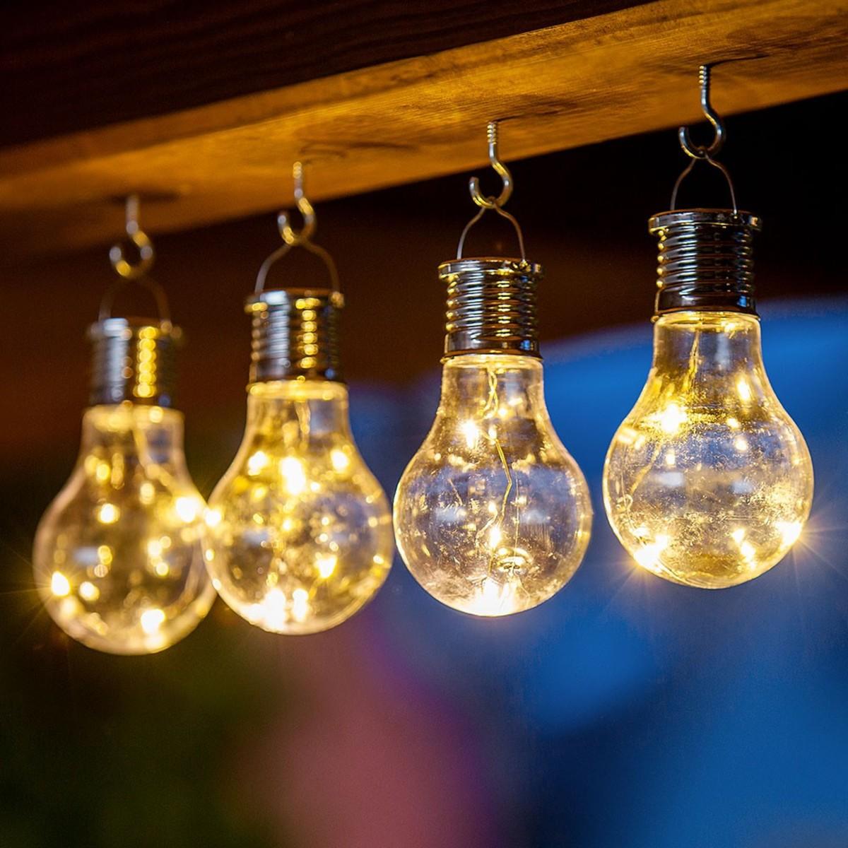 Bild 1 von I-Glow LED Solar Partybirnen 4er-Set - Warmweiß