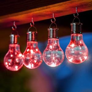I-Glow LED Solar Partybirnen 4er-Set - Rot