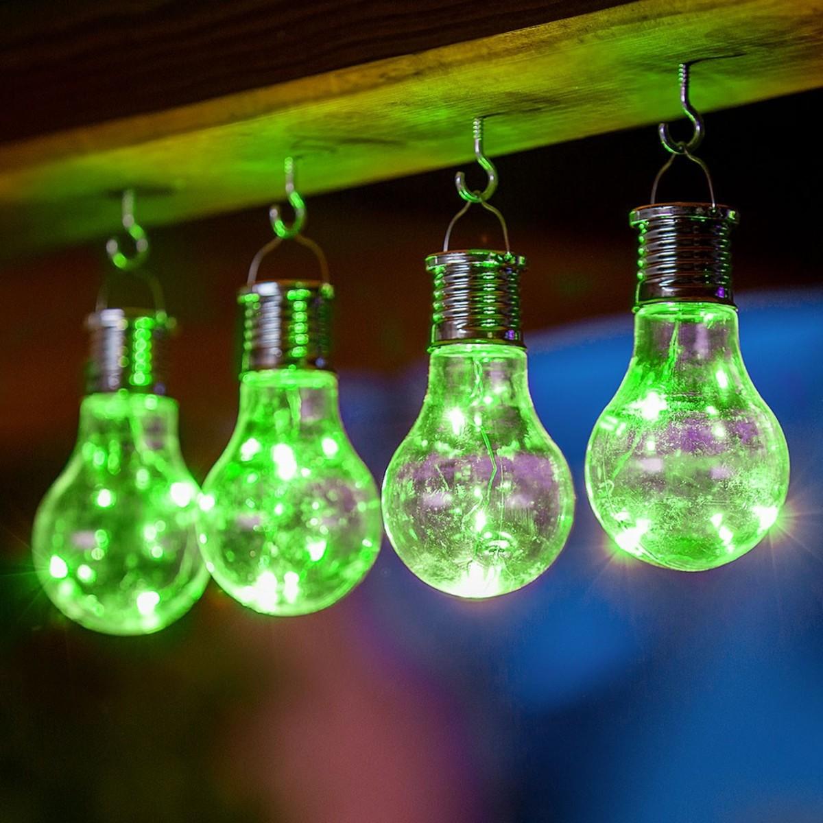 Bild 1 von I-Glow LED Solar Partybirnen 4er-Set - Grün