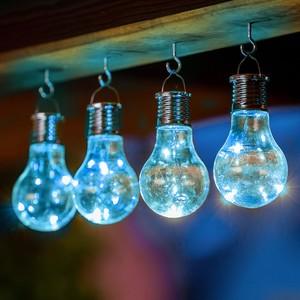 I-Glow LED Solar Partybirnen 4er-Set - blau