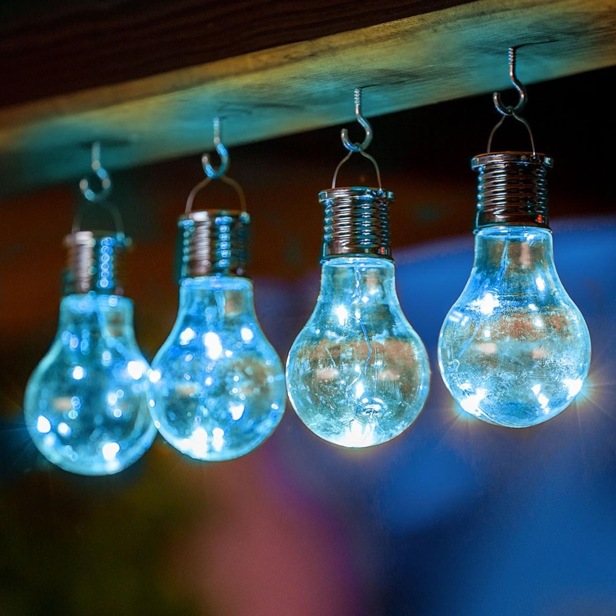 Bild 1 von I-Glow LED Solar Partybirnen 4er-Set - blau