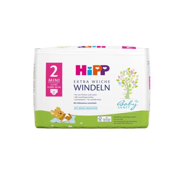 HiPP Babysanft extra weiche Windeln Größe 2 (Mini, 3-6 kg)