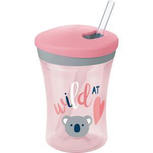 NUK Action Cup Trinklernbecher mit Strohhalm, rosa