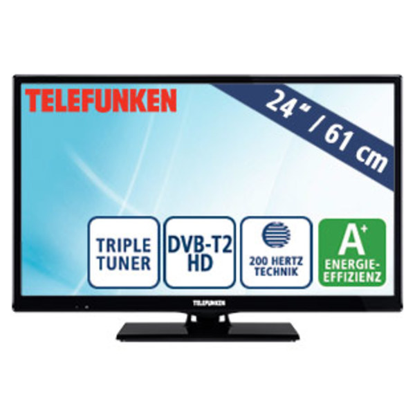 "24""-LED-HD-TV D24H289N4 · Auflösung 1.366 x 768 Pixel · 2 HDMI-Anschlüsse, USB-/Scart-Anschluss, CI+ · Stand-by: 0,5 Watt, Betrieb: 19 Watt · Maße: H 33,6 x B 55,4 x T 8,2 cm · Energie-Effizi"