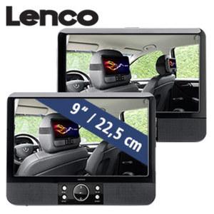 """Mobiles DVD-Set MES-403 mit zwei 9""""-TFT-Bildschirmen · integr. Lautsprecher · USB-Anschluss/SD-/MMC-Kartenslot · Kopfhörer-Anschluss · inkl. Netz-/12-Volt-Adapter, IR-Fernbedienung und Befestigu"""