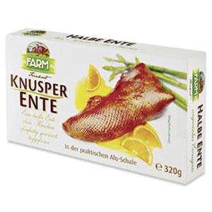 Knusper Ente halbe Ente, ohne Knochen, ofenfertig gewürzt, gefroren,  jede 320-g-Packung
