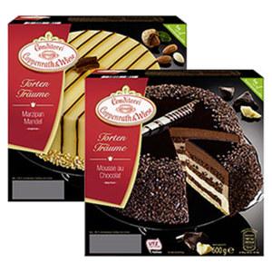 Coppenrath & Wiese Torten Träume Marzipan-Mandel oder  Mousse au Chocolat gefroren, jede 600-g-Packung und weitere Sorten