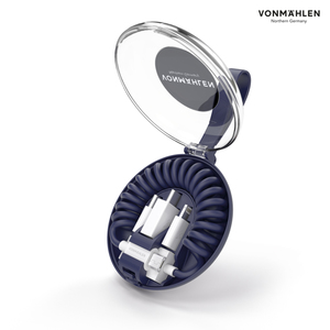 Vonmählen allroundo® All-in-One Ladekabel in Marine, 0,7 m, USB A, Micro-USB B, 2.0, 480 Mbit/s, Blau