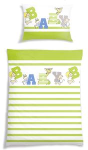 Schiesser Kinder-Bettwäsche 100 x 135 cm, Streifen grün