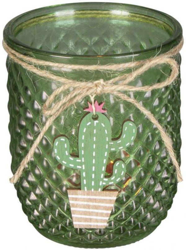 Teelichtglas - Kaktus - 9,5 x 9,5 x 11 cm