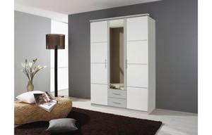 Kleiderschrank Micro seidengrau/weiß 136 cm