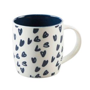 """Kaffeebecher 385 ml """"Herzchen"""" in Blau"""