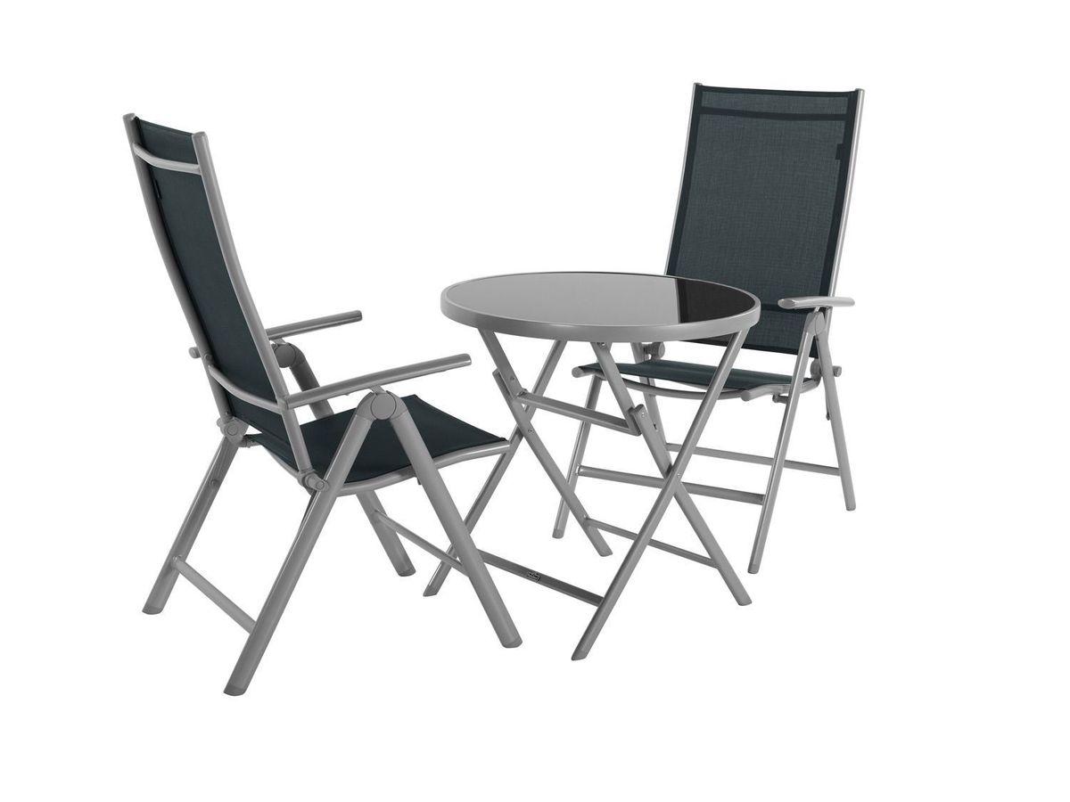 Bild 1 von Balkonmöbel Set Aluminium, 3-teilig, grau