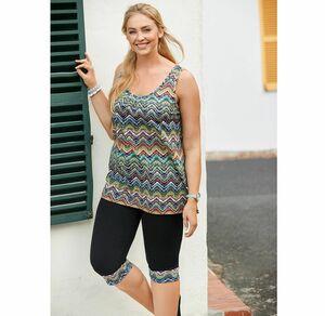 Laura Torelli plus (Gr. 44-58) Damen-Leggings mit Zick-Zack-Muster, große Größen