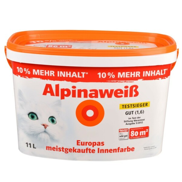 Alpinaweiß Wandfarbe 11 Liter Deckkraftklasse 1