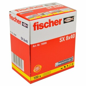 Fischer Dübel SX 8x40 mit Kragen 100-teilig Nylon Spreizdübel