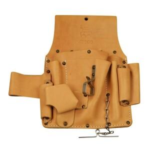 Elektriker Werkzeugtasche 20x29cm 9Fächer Leder braun Gürteltasche Nageltasche