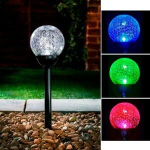 Solarball Gartenstecker schwarz Bruchglasoptik 5er Pack