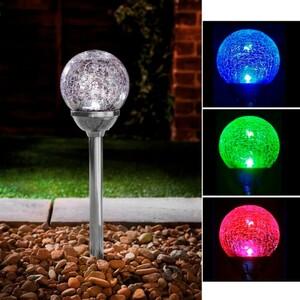 Solarball Gartenstecker chrom Bruchglasoptik 5er Pack