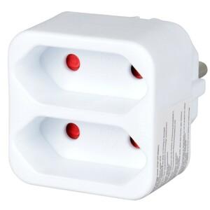 Steckdosenverteiler Schutzkontakt auf 2xEurostecker weiß