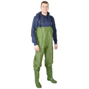 Herren Anglerhose mit Stiefeln Gr.L grün wasserdicht
