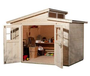 WEKA-Gartenhaus mit versetztem Satteldach, 327 x 252 x 231 cm