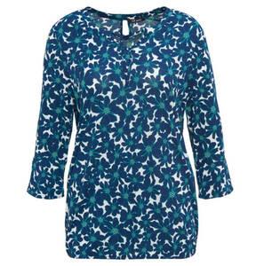 olsen             Shirt, florales Muster, Volant-Ärmel, Gummibund, Split-Neck