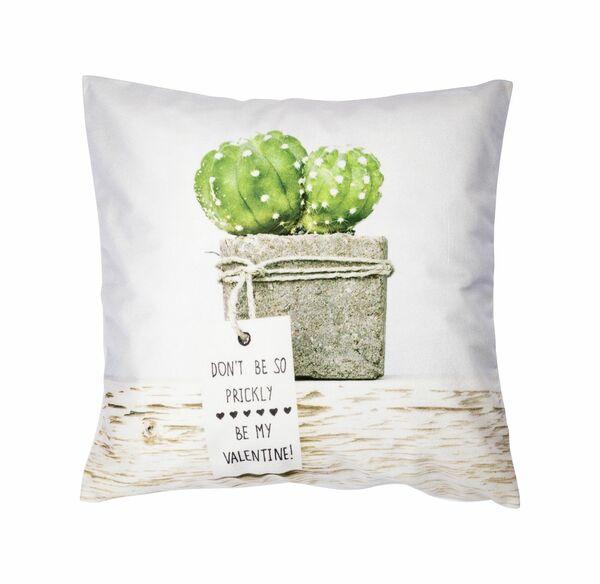 Home Kissenhülle mit Kaktus-Frontaufdruck, ca. 40x40cm