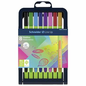 Schneider Line-Up Fineliner Box Blackforest-Green, Daytona-Violet, Fashion-Pink, Lapis-Blue, Mineral