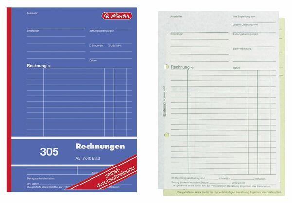 Herlitz 305 Rechnungen A5 - 4 Stück