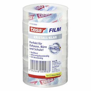 Tesa Film 15 mm  x  33 m Kristallklar - 6 Stück