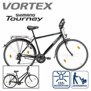 Trekkingrad Travel 100 - Shimano-Tourney-18-Gang-TY 300- Schaltwerk, Drehgriffschalter - Alu-V-Bremsen - Rahmenhöhe: 48 cm (Damen 28er), 50 cm (Herren 28er), je