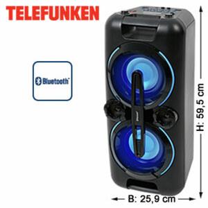 Bluetooth®-Party-Lautsprecher BS1017 mit Radio • Super-Bass-Effekte • 2 USB-/Mikrofon-Anschlüsse • 3,5-mm-Klinken-Anschluss • integr. Akku