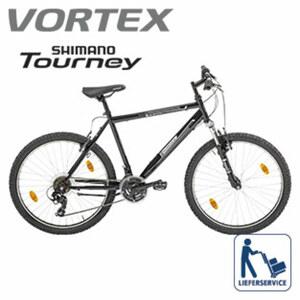 Mountainbike Hill 100 - Shimano-Tourney-18-Gang- TY 300-Schaltwerk, Drehgriffschalter - Alu-V-Bremsen - Rahmenhöhe: 50 cm (26er und 28er) - Federgabel, je