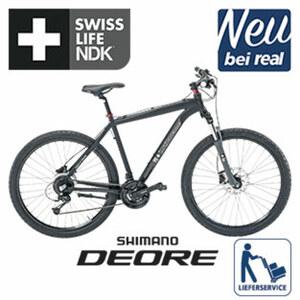 Alu-Mountainbike Swiss Life NDK - Shimano-Deore-24-Gang-Schaltwerk, Daumenschalthebel - hydraulische Scheibenbremsen - Rahmenhöhe: 52 cm (27,5er und 29er) - Suntour verstellbare Alu-Federgabel