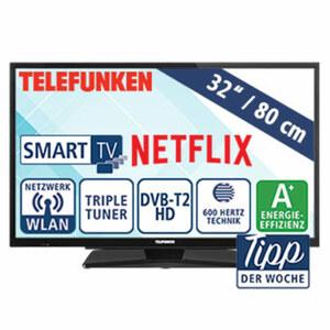 "32""-LED-HD-TV D32H502N4CW • 1.366 x 768 Pixel • HbbTV • 3 HDMI-/2 USB-Anschlüsse, CI+ • Stand-by: 0,5 Watt, Betrieb: 31 Watt • Maße: H 44,2 x B 73,5 x T 8,9 cm • Energie-Effizienz A+ (S"