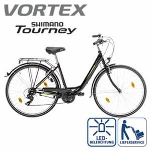 Citybike City 100 - Shimano-Tourney-6-Gang-TY 300- Schaltwerk, Drehgriffschalter - Alu-V-Bremsen - Rahmenhöhe: 46 cm (Damen 26er), 50 cm (Damen 28er), je