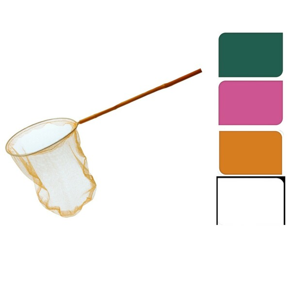 Bambus Kescher Ø 25 x 95 cm mit PVC-Netz farblich sortiert