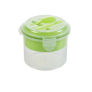 Lunchbox rund mit Löffel in grün