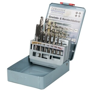 Gewindebohrer und Kernlochbohrer Set 14-teilig in Metallkassette