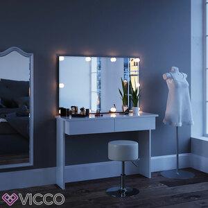Vicco Schminktisch AZUR mit LED und Hocker - Weiß Hochglanz - Wandspiegel Kosmetiktisch Frisierkommode