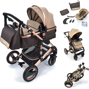 Daliya 3 in1 Kinderwagen Bambimo Gold-Braun + Wickeltasche + Getränkehalter Front + Regenschutz + Babyschale....