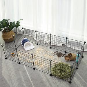 SONGMICS Verstellbares Laufgitter für Kleintiere inkl. Gummihammer für Innen individuell zusammenbaubar 143 x 73 x 36 cm (B x H x T) schwarz LPI01H