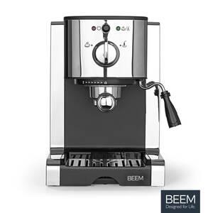 BEEM ESPRESSO PERFECT | Espresso-Siebträgermaschine mit Kapseleinsatz - 20 bar | BASIC SELECTION | Milchschaumdüse | Kaffeepulver, -pads, -kapseln | Silber | 1470 W | Chrom-Style